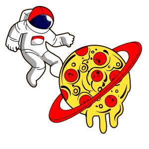 Astronaut and Pizza Planet Sticker