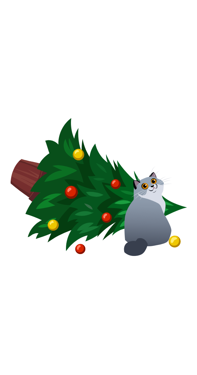 Cat and Christmas Tree Sticker