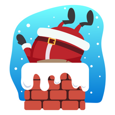 Santa Сomes Down the Chimney Sticker