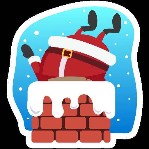 Santa Сomes Down the Chimney Sticker