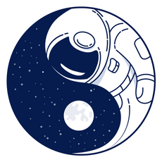 Yin and Yang Astronaut in Space Sticker