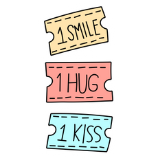 Coupons for 1 Smile 1 Hug 1 Kiss Sticker