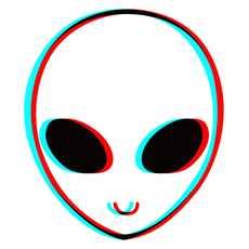 Alien Head in 3D Anaglyph Style Sticker