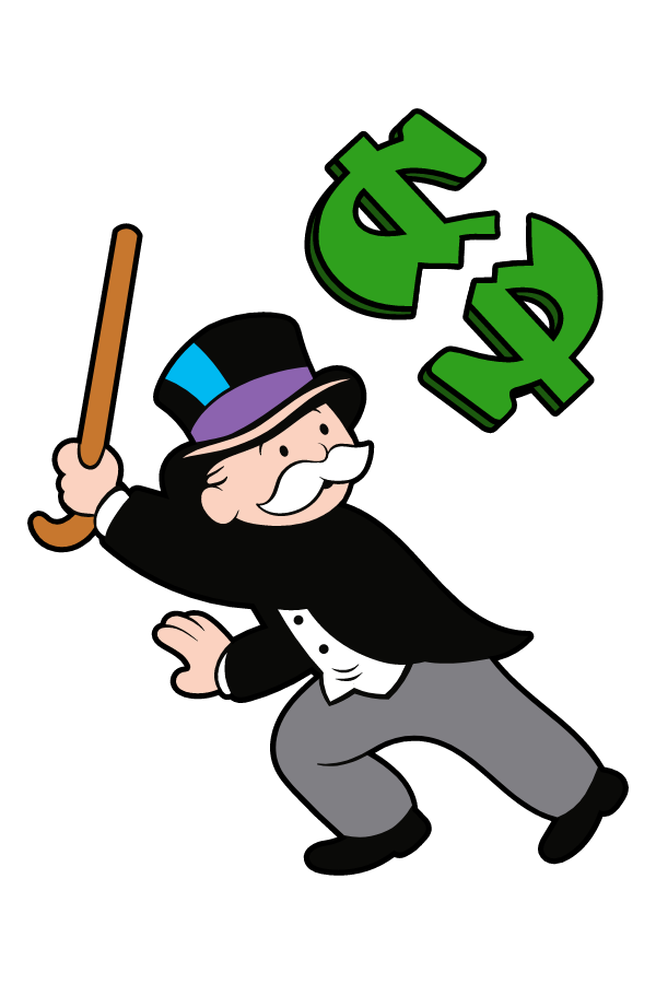 Rich Uncle Pennybags Breaks the Dollar Sticker