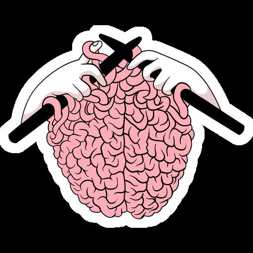 Knitting a Brain Sticker
