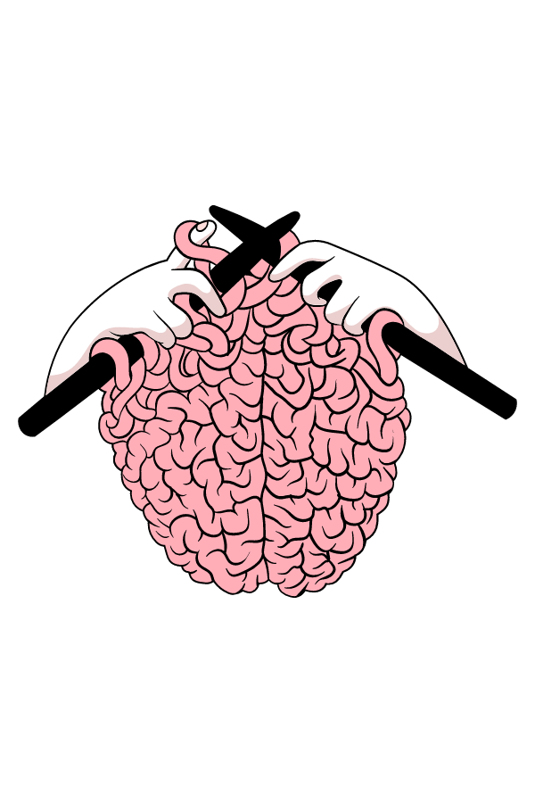 Knitting a Brain Sticker