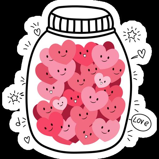 Jar with Love Hearts Sticker