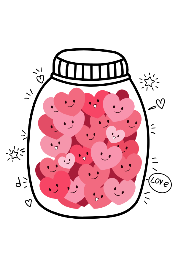 Jar with Love Hearts Sticker