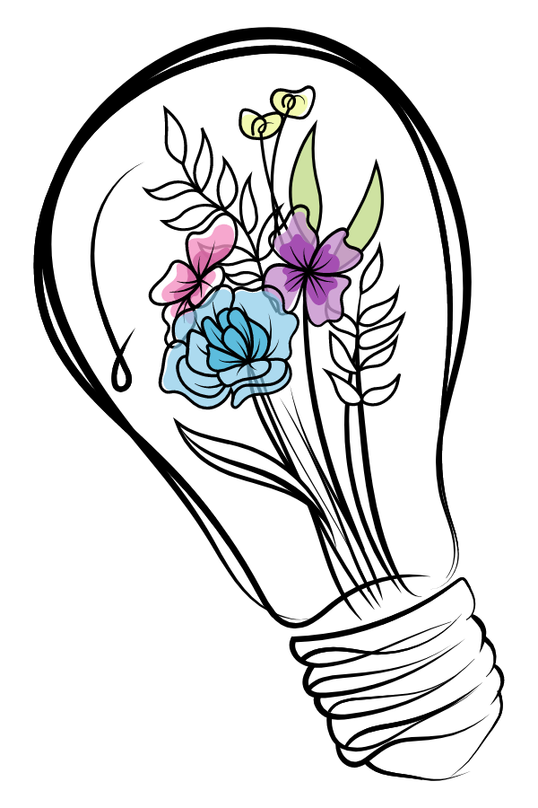 Light bulb with Flowers Sticker