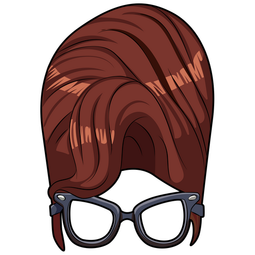 High Hairstyle and Clear Lens Glasses Sticker