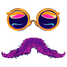 Round Sunglasses and Pink Mustache Sticker