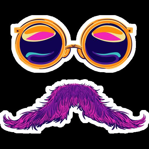 Round Sunglasses and Pink Mustache Sticker