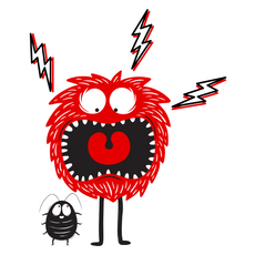 Red Monster Scared by a Bug Sticker