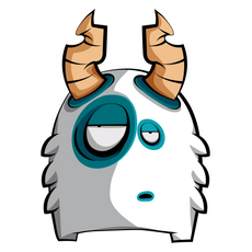 White Horned Bore Monster Sticker