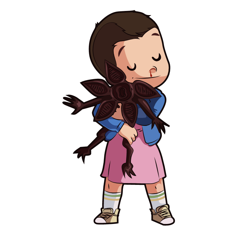 Stranger Things Eleven Hugs Demogorgon Sticker