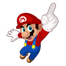 Super Mario Points Finger Up Sticker