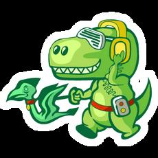 T-Rex Walking a Pterodactyl Sticker