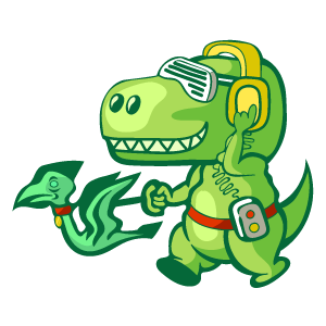 T-Rex Walking a Pterodactyl Sticker