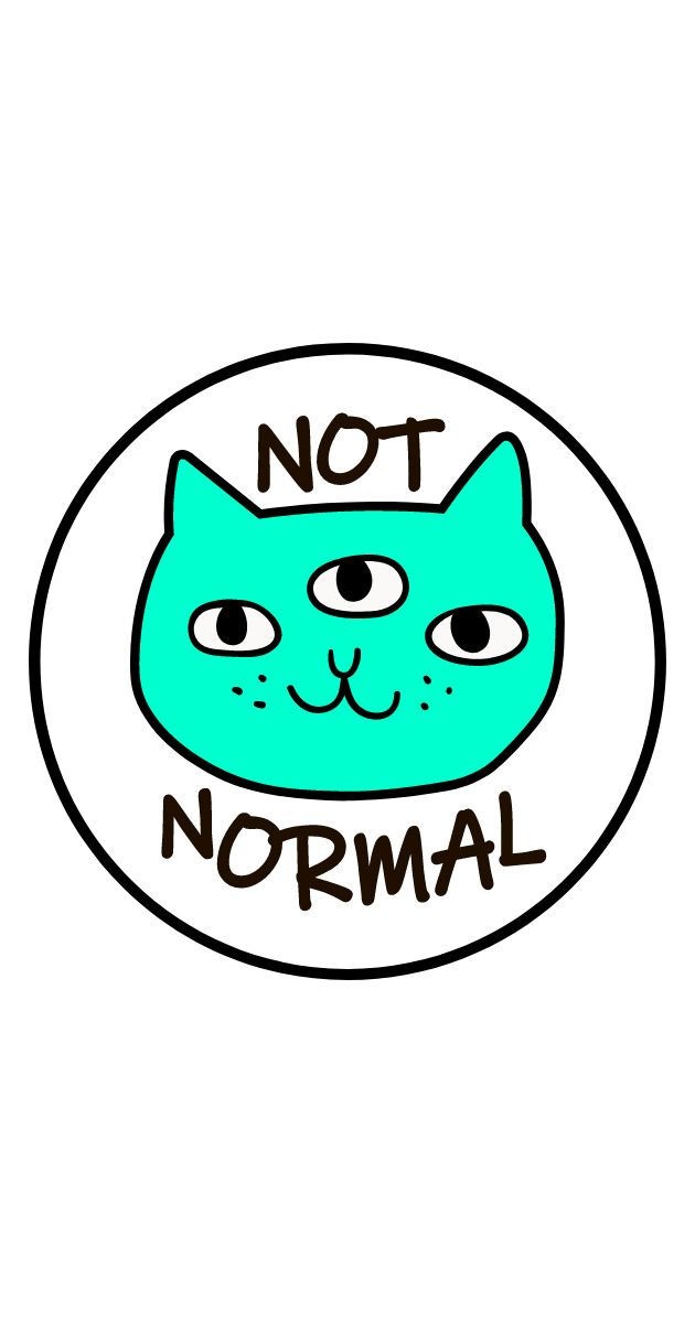 Three-Eyed Cat Not Normal Sticker