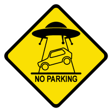 UFO Abduction Car Road Sign Sticker