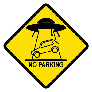 UFO Abduction Car Road Sign