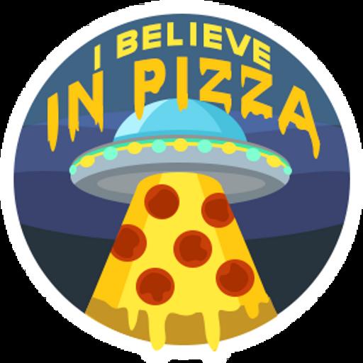 UFO I Believe in Pizza Sticker