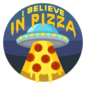 UFO I Believe in Pizza Sticker