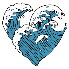 VSCO Ocean Wave Heart Sticker