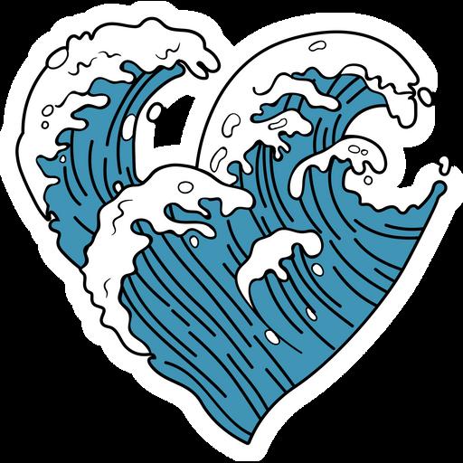VSCO Ocean Wave Heart Sticker