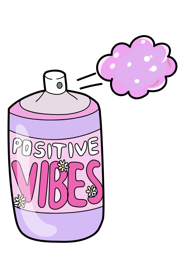 VSCO Girl Positive Vibes Spray Sticker