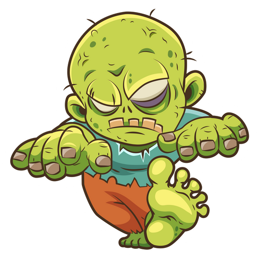 Walking Cartoon Zombie Sticker