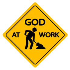 Warning Sing God at Work Sticker
