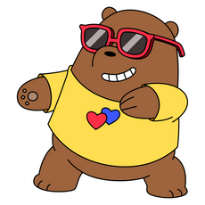 We Bare Bears Grizz Dancing in Glasses Sticker