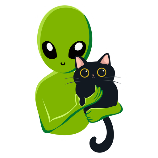 Alien with a Cat Sticker