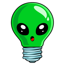 Alien Light Bulb Sticker