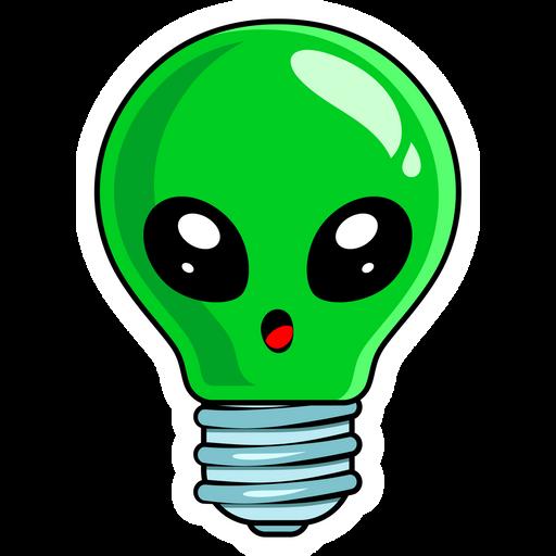 Alien Light Bulb Sticker