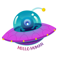 Alien UFO Hello Human Sticker