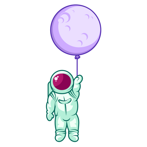 Astronaut with a Ball-Moon Sticker