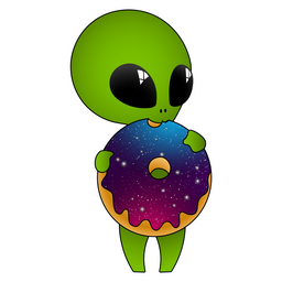 Cute Alien with Donut Sticker