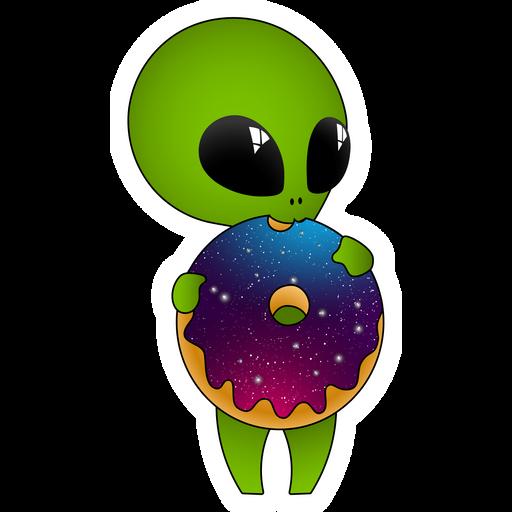 Cute Alien with Donut Sticker