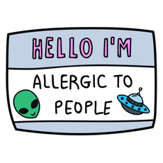 Name Card Allergic to People Sticker