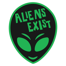 Green Alien with Aliens Exist Sign Sticker