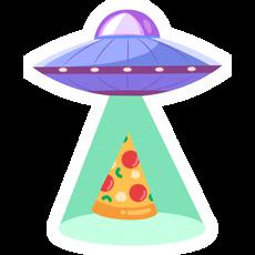 UFO with Pizza Sticker