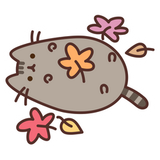 Pusheen in Autumn Leaves Sticker