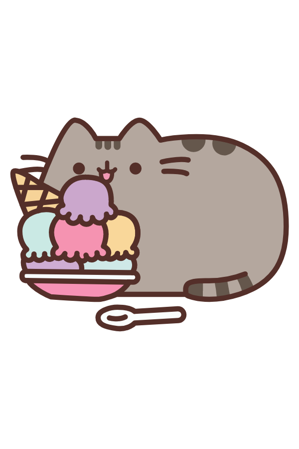 Pusheen Eating Ice Cream Sticker