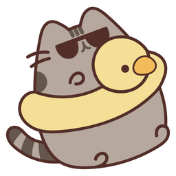 Pusheen Relaxing by the Pool Sticker
