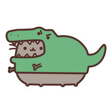Pusheen T-Rex Costume Idea Sticker