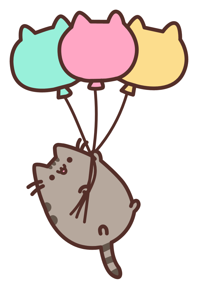 Pusheen with Balloons Sticker