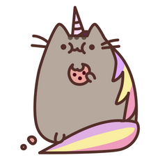 Pusheenicorn Eating Cookie Sticker