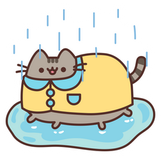 Rainy Pusheen Sticker